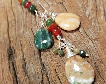 Ocean Jasper; Gemstone pendant; Sterling Silver; Jade; Carnelian; Boho necklace;  Cluster necklace; Ocean jasper pendant;