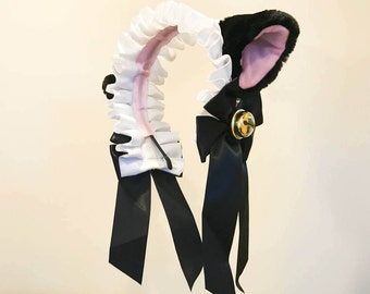 Cat Ears kitty headwear Furry Black Pink White Bells Maid Lolita