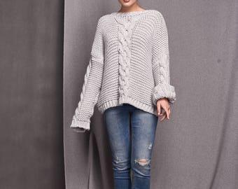 Minimalist gray sweater, loose fit sweater, warm sweater, wool, chunky sweater, soft sweater, oversized sweater, chunky.