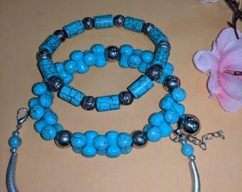 3 pieces of Turquoise bracelets.