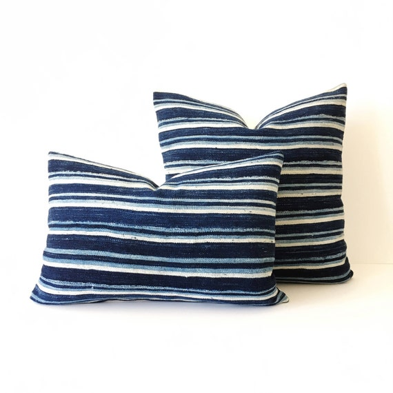 18 x 12 Ivory and Indigo Striped Pillow Cover