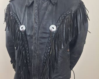 Vintage Route 66 Highway Leathers Black Leather Biker's Jacket with Bat Wing Fringe and Decorative Conchos/Size 42
