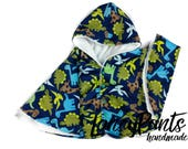 Made to order dinosaur cuddle minky fleece car seat poncho - winter kids children's poncho -infant poncho - toddler poncho