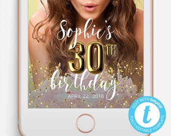 Birthday Snapchat Filter, Birthday Snapchat Geofilter, Editable Snapchat Filter, Templett, 30th Birthday, 30th Birthday Snapchat Filter