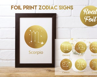 Real Foil Print Zodiac/Star Signs
