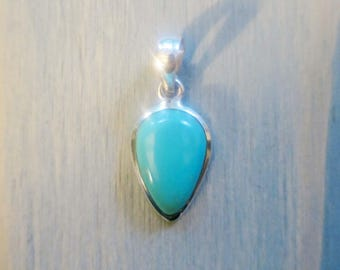 Turquoise Inverted teardrop pendant in Sterling Silver