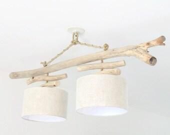 Chandelier/ceiling light Driftwood - linen 30 cm - unique design - double suspension - Led - light - gift idea - slowlife