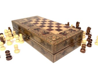 Wooden marquetry chess set, Inlay chess board, Mosaique chess board, Arabian mosaique chess board, Moroccan Syrian Marquetry Chess Set