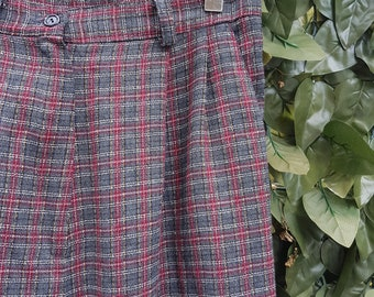 Vintage 80s High Waisted Check Trousers