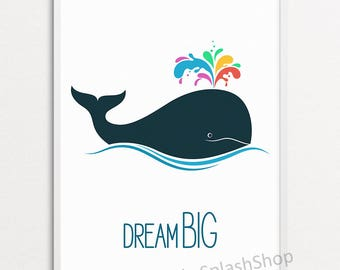Whale print Nautical nursery wall decor Dream big Inspirational quote poster Sea Ocean Animal Modern Kids room Baby playroom art printable