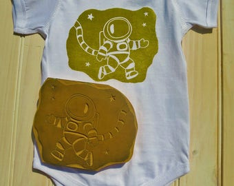 Baby Bodysuit Astronaut, Space Bodysuit, Baby Boy, Baby Girl, Gender Neutral, Shower Gift, Outer Space, Science, NASA, Linoleum Block Print