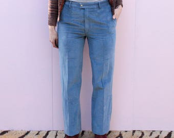 Vintage Dusty Blue High Waisted Cord Trousers