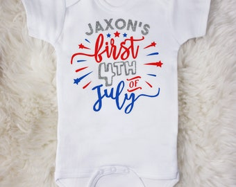 First 4th of July Custom Name Baby Bodysuit