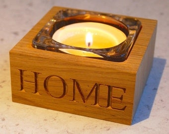 Single Candle - solid oak and glass - CUSTOMISE!