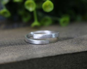 Brushed Sterling Silver Wrap Ring - 6mm wide