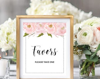 Wedding Favors Sign, Please Take One, Printable Favors Sign, Favors Table Sign, Blush Watercolor Peonies, Silver Glitter #SG002