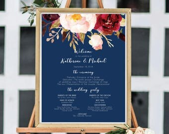 Wedding Program Sign, Ceremony Program Sign, Large Wedding Program, Ceremony Program Template, Wedding Program Template, Editable #A004