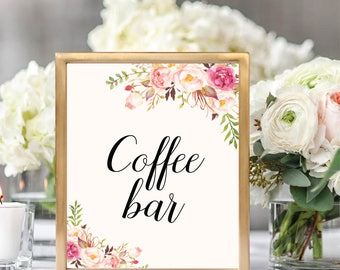 Coffer Bar Sign, Coffee Table Sign Printable, Coffee Table Sign, Coffee Bar Printable, Printable Wedding Sign, Floral Wedding, #B512