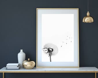 Dandelion print, dandelion wall art, dandelion art, flower print, dandelion poster, dandelion printable, dandelion decor, minimalist print
