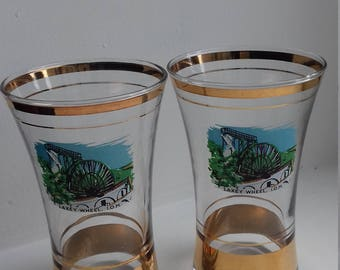 2 Vintage LAXEY WHEEL Glasses - Isle of Man