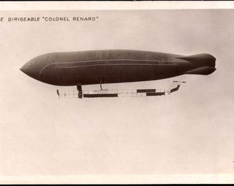 "N Mint ~ 1910s RPPC The AIRSHIP Colonel RENARD, Zeppelin In Flight ~ Le Dirigeable ""Colonel Renard"" - Postally unused"