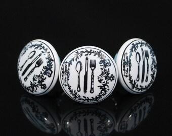 Cutlery design ceramic knobs Handpainted poignées de meubles Cabinet Möbelknopf Dresser pomelli drawer Boutons -Price is of 1 knob (OHK076)