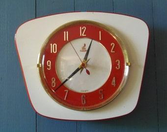"1950's ""JAZ Transistor LICATO"" Red and White Wall Clock"