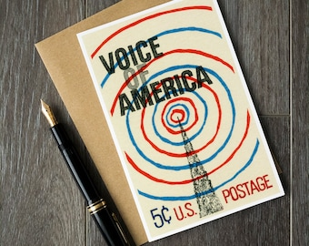 voice of america card, voice of america, VOA radio, amateur radio cards, ham radio birthday, radio history gifts radio united states, poster