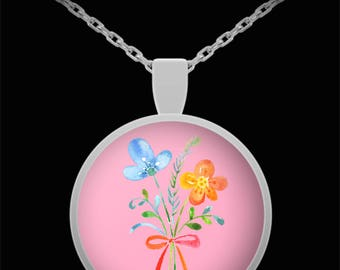 Floral Bouquet Necklace Valentine's Day Gift Jewelry I Love You Flowers Gift for Wife Daughter Mom Birthday Anniversary Thinking of you