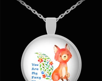 Jewelry You Are My Foxy Vixen Watercolor Print Necklace Gift Valentine Birthday Anniversary I Love You