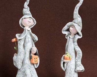 Halloween decoration sculpture set Clay halloween figurines Witch hat figures Funny halloween Party favor Boy dolls statues Halloween gift