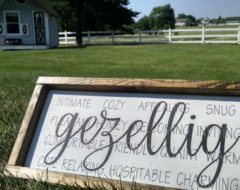 Gezellig - Dutch Wooden Sign Painted with Definition, Framed Wall Decor, home and living, Netherlands, Holland, Dutch Words, Dutch Phrasess,
