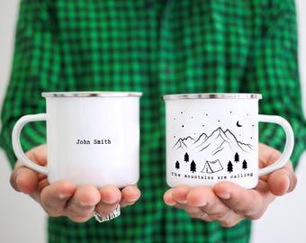 Custom Camp Mug Personalized Camp Mug  Mountains Camping Mug  Camping Coffee Cup Mountain Mug Mountains Calling Camping Gift Gift For Him