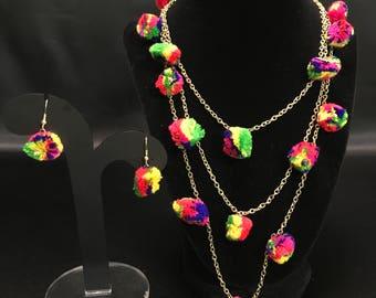Pom Pom Jewelry - Indian Jewellery - Pom Pom Necklace - Festival Jewelry - Bollywood Jewelry - Navratri Jewelry - Garba Raas Jewelry Set -