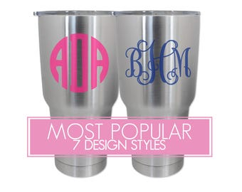 Monogram Tumbler Decals, Monogram Tumbler Decals, Monogram Vine Tumbler Decals, Monogram Tumbler Stickers, Custom Decals, Custom Stickers