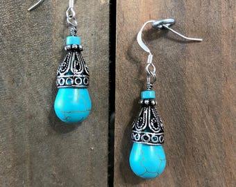 Teal Dangle earring