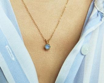 Labradorite Necklace, Labradorite Pendant, Gold Necklace, Labradorite Jewelry, Stone Pendant, Small Gemstone Necklace, Gold Gemstone Pendant