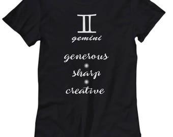 Gemini shirt, Women's tee gemini zodiac sign, Astrology t shirt, Gemini zodiac gift