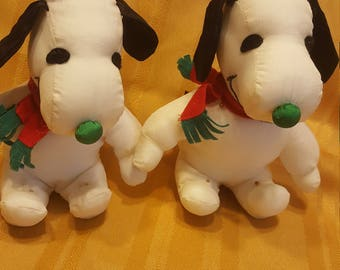 Snoopy wearing antlers Christmas Plush