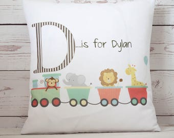 """Personalised circus train initial 16"""" white cushion/pillow cover vintage shabby chic nursery"""