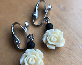 Clip-On Earrings, Cream Flower Earrings, Diffuser Earrings, Essential Oil Earrings, Aromatherapy Earrings, First Communion Gift