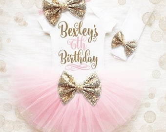 6th Birthday Outfit Girl | 6th Birthday Girl Shirt | Pink And Gold Birthday Outfit | 6th Birthday Tutu Set | Birthday Tutu Set