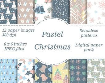 Christmas digital paper pack Pastel Christmas Snowflake Patterns Snowman Digital Paper Christmas Digital Background Holiday Scrapbook