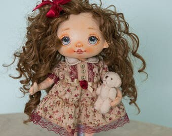 Textile doll, rag doll, fabric doll, cloth doll, art doll, vintage doll, interior doll, OOAK doll, home decor, brown, doll - AliceMoon #76