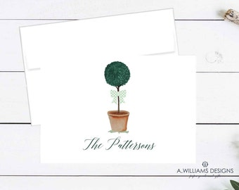 Adorable Personalized  folded Notecards/Topiary personalized blank note cards/note cards/Green gingham personalized thank you cards 3.5x5