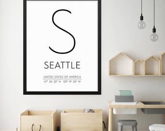Seattle Washington Print, Seattle Poster, Seattle Coordinates Printable, Seattle Wall Art, Seattle Decor, Travel Poster