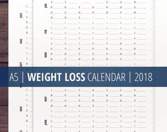 Weight Loss Tracker Calendar 2018 / A5 Health Planner Inserts / Health, Weight Loss Chart / Printables for Filofax, Kikki k / Download