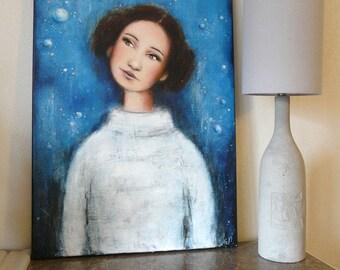 """Leia / Pour les fans de Star Wars / peinture """"Leia, princesse des étoiles"""" princesse Leia ordana / planètes espace cinema jedi"""