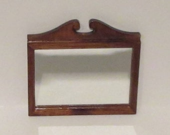 Miniature Dollhouse Wood Framed Mirror 1:12 Scale