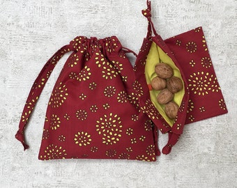 Red Red cotton Voile lined smallbags veil yellow - 2 sizes - reusable cotton bag - zero waste